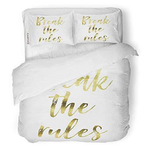 Semtomn Decor Duvet Cover Set King Size Expression Break The Rules Gold Inspirational Motivation Quote 3 Piece Brushed Microfiber Fabric Print Bedding Set -