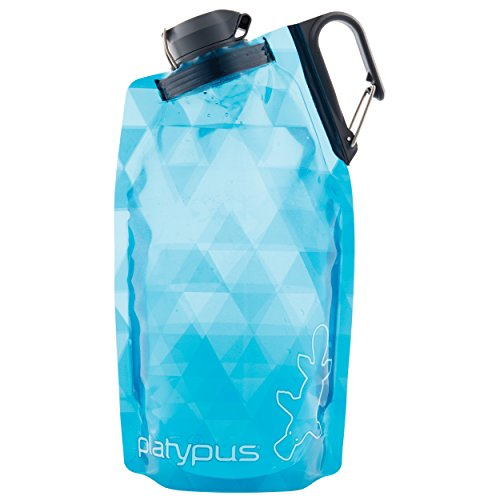 Platypus DuoLock SoftBottle Collapsible Water Bottle, Blue Prisms, 1.0-Liter (Collapsible Bottles Water)