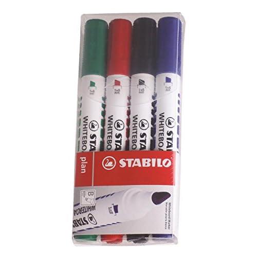 STABILO plan - Pochette de 4 marqueurs effaçable à sec - Coloris assortis  (pointe biseautée)