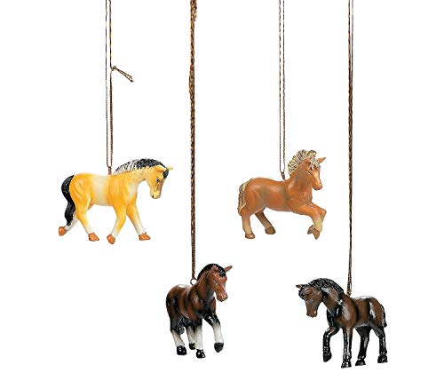OTC Set of Four Resin Horse Ornaments Christmas Tree Holiday Western ()