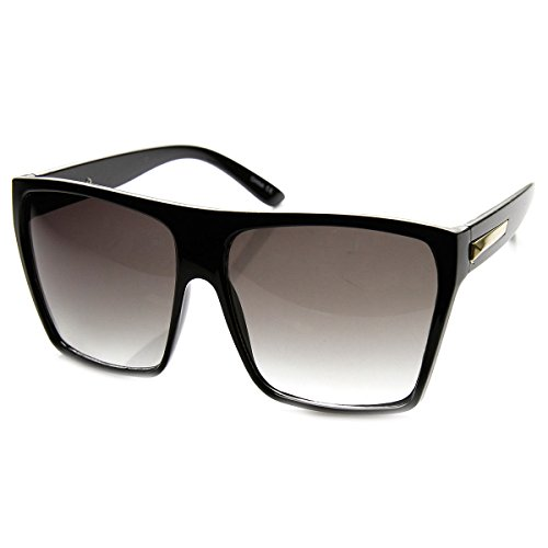 AStyles - Super Huge Oversized Large Obtuse Sunglasses Glasses Unisex Retro Flat Top Square Frame (Brown) - Top Flat Sunglasses Large Super