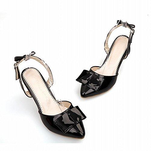 Carol Shoes Women's Western Fashion High Heel Bows Pointed Toe Sandals Black cf3Lo