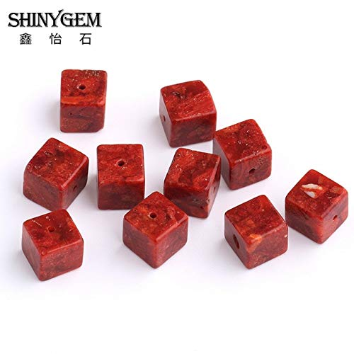 Calvas 10mm Red Coral Cube Beads Drilled Red Cinnabar Natural Stone Beads for Jewelry Making Wholesale Loose Beads 20pcs/Lot - (Color: Semi-Precious Stone, Item Diameter: 10mm)