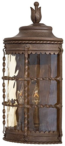 Minka Great Outdoors 8887-A61 Mallorca - Two Light Outdoor Pocket Lantern, Vintage Rust Finish with Champagne Hammered Glass - Mallorca 2 Light