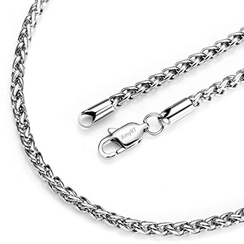 AmyRT Jewelry 3mm Stainless Steel Womens & Mens Silver Wheat Chain Necklace ()