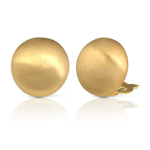 JanKuo Jewelry Matte Gold Round Clip On -