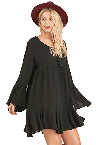 Buy bell sleeve babydoll dress - 1