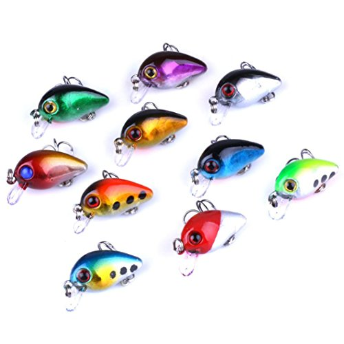 es Tackle Kits -10Pcs/Lot 2.6cm 1.7g 3D Eyes Hard Plastic Minnow Fishing Lures, Mini Bream Bait With Carbon Steel Treble Hooks for Saltwater/Freshwater Fishing Fishing Lover Gift ()