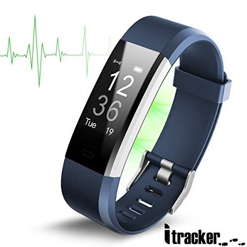 ITRACKER Fitness Tracker [2019], Activity Tracker Watch with Heart Rate Monitor, Waterproof Smart Bracelet with Step Counter, Calorie Counter, Pedometer Watch for Kids Women and Men (Blue)