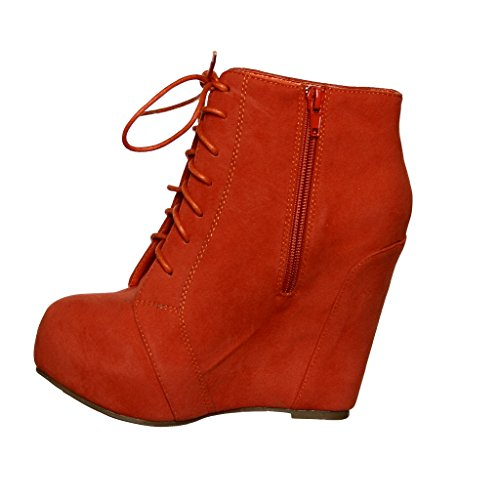 Lace Booties Coral Wedge up Lace up wqfOqg8zW