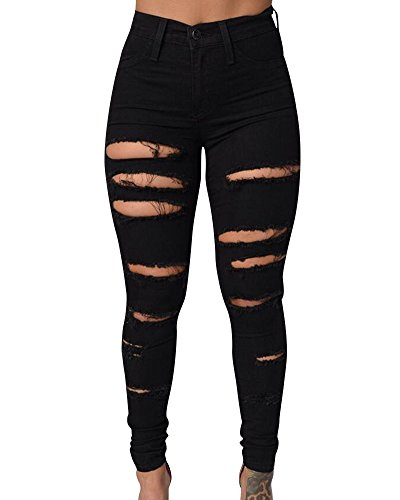 Femmes Destroy Long Jeans Slim Crayon Pantalon Dchirs Trou  Taille Haute En Denim Noir