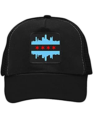 Unisex Chicago Skyline Flag Trucker Hat Adjustable Mesh Cap