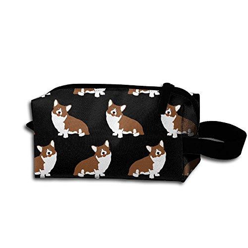 Pembroke Welsh Corgi Dog Pattern Portable Make-up Receive Bag Hand Cosmetic Bag Makeup Bag Sewing Kit Medicine Bag For Home Office Travel Camping Sport Gym Outdoor With Hanging Zipper - Welsh Outdoor Hanging