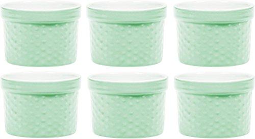 Palais Dinnerware Ramekins Collection Porcelain Soufle Dishes (4 Oz - Set of 6, Mint Green - Dots Finish)