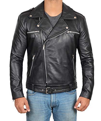 Biker Leather Jacket Men - Black Real Mens Motocycle Leather Jackets | S ()