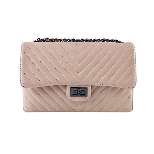 leather clutch Nude and quilted smooth purse shoulder Italian cross Dark Medium leather body quilted metal chain Nickel soft SINDY chevron XCZ1qT