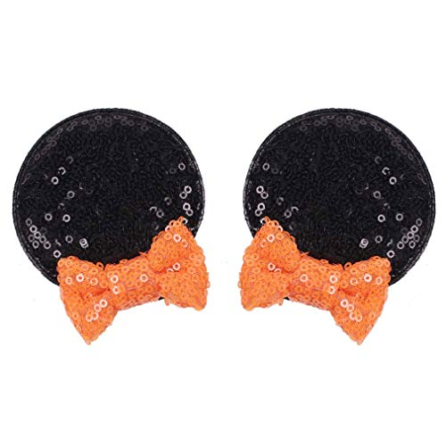 Minnie Mouse Halloween Ideas (YanJie Halloween Hair Clips Lovely Sequin Mouse Ears Sequin Bow Hair Accessories Party Favor Decoration for Girls)