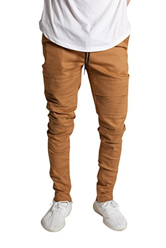 KDNK Men's Tapered Skinny Fit Stretch Twill Cotton Drawstring Ankle Zip Moto Pants (Medium, Timber) ()