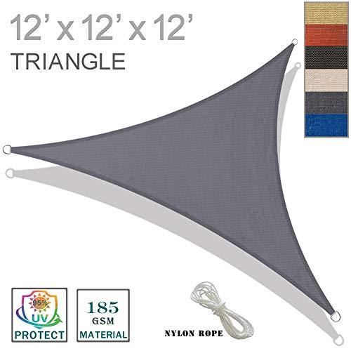 SUNNY GUARD 12' x 12' x 12' Charcoal Triangle Sun Shade Sail UV Block for Outdoor Patio Garden