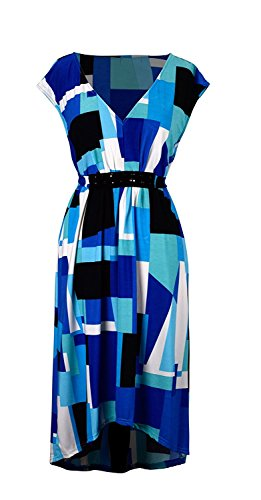 Peach Couture Women`s Geometric Print Sleeveless Casual Jersey Hi Lo Midi Dress (Medium, Blue) (Blue Formal High Low Dress)