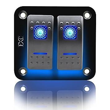 FXC Rocker Switch Aluminum Panel 2 3 4 5 6 Gang Toggle Switches Dash on