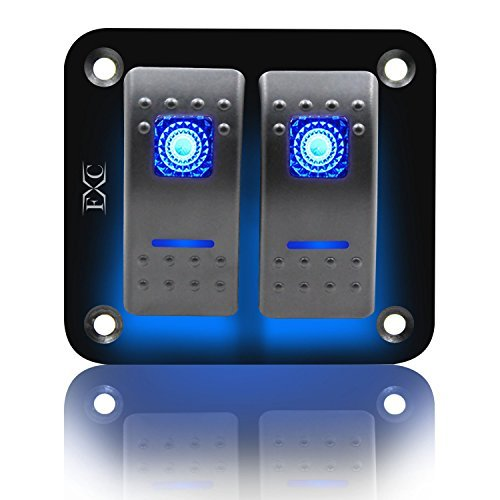 - FXC Rocker Switch Aluminum Panel 2 Gang Toggle Switches Dash 5 Pin ON/Off 2 LED Backlit for Boat Car Marine Blue