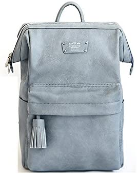 Cratte Mini Office Leather Business Backpack Stone Blue