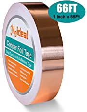 Copper Foil Tape (1inch X 66 FT) with Dual Conductive Adhesive for Guitar and EMI Shielding, Garden, Crafts, Electrical Repairs, Grounding
