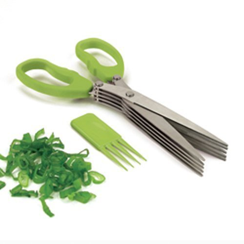 TECHSOFT Ware Multi-Functional Stainless Steel Kitchen Knives 5 Layers Scissors Cut Herb Spices Cooking Tools Vegetable Cutter with Cleaning Brush (Colour May Vary) Price & Reviews