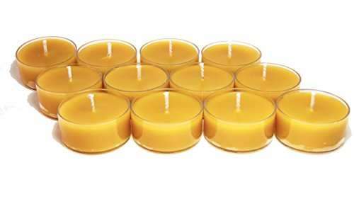 (BCandle 100% Pure Raw Beeswax Tea Lights Candles Organic Hand Made (Pack of 24))