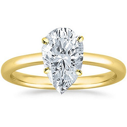 GIA Certified 14K Yellow Gold Pear Cut Solitaire Diamond Engagement Ring (0.75 Carat E Color VVS2 Clarity) by Diamond Manufacturers USA