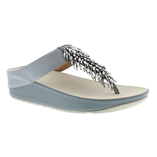 FitFlop Womens Rumba Toe Thong Sandals (Dove Blue,7B)