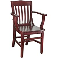 Beechwood Mountain BSD-2A-M Solid Beech Wood Arm Chair in Mahogany for Kitchen & Dining, NA