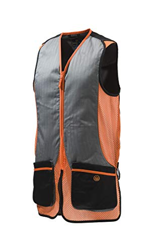 Beretta Mens Silver Pigeon Shooting Vest, Black and Orange, XL ()