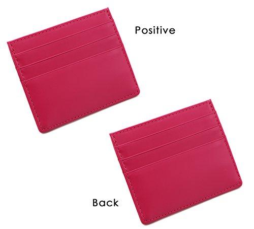 bc48f963e289 Zhoma RFID Blocking Front Pocket Wallet - Leather Minimalist Wallet Unisex  Slim Card Holder - Rose