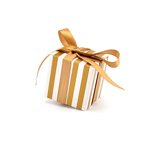 (Small Candy Box,50Pcs Christmas Candy Boxes with Ribbon,2x2x2 inc Gold Stripes Design Cookie Gift Boxes for Christmas Baby Shower Wedding Birthday)