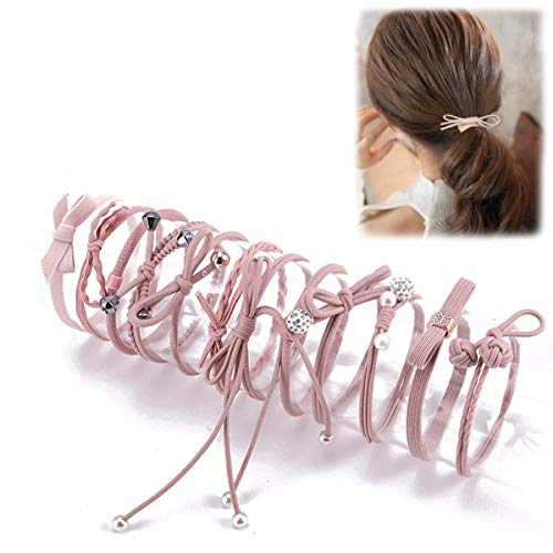 Women Hair Accessories Elastic Hair Ties, Lovely Ribbon Bow-knot Hair Rubber Band Set for Babies, Children, Girls & Ladies, Pink (Pack of 12)