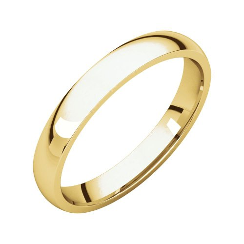 Security Jewelers 18k Yellow Gold 3mm Light Comfort Fit Band, 18kt Yellow Gold, Ring Size 8 18kt Comfort Fit Wedding Band