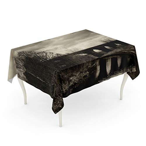 Tinmun Waterproof Tablecloth 52 x 70 Inches Black and White of Arc Bridge Dramatic Sky Decorative Rectangular Tabletop Cover for Outdoor Indoor Use