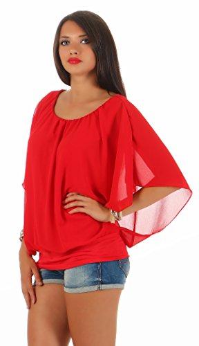Matyfashion - Camisas - Básico - Cuello redondo - para mujer Rojo