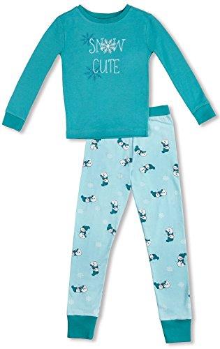 PajamaGram Snow Cute'' Long-Sleeved Girls' Pajamas Set, Aqua Youth 14