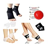 New Plantar Fasciitis 4-in-1 Pain Relief & Recovery Kit - Foot Compression Sleeve, Copper Arch Compression Brace, Heel Protectors, Foot Massage Ball for Foot Pain Relief