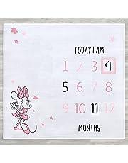 """Disney Baby Minnie Mouse 2-Piece Milestone Blanket & Moveable Frame Set, White, 47"""" x 47"""""""
