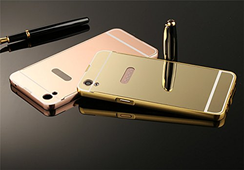 CEDO-Premium-Luxury-Metal-Bumper-Acrylic-Mirror-Back-Cover-Case-For-Oppo-F1s-Gold