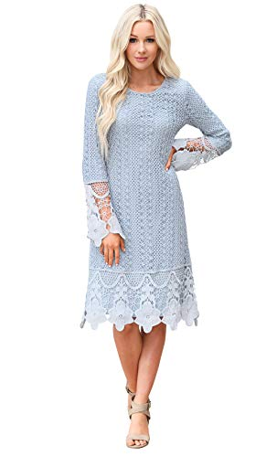 Lydia Modest Boho Dress in Light Blue w/Lace Overlay - XS, Modest Bridesmaid Dress in Sky -