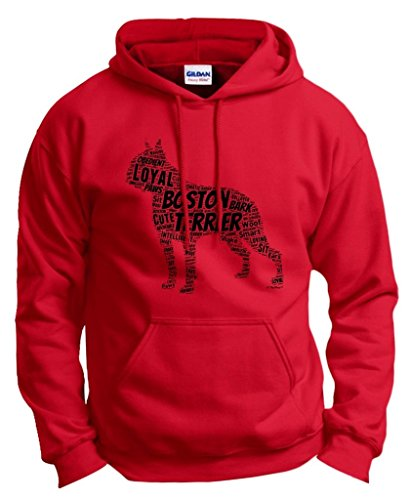 Dog Accessories Boston Terrier Word Art Dog Puppy Owner Gift Hoodie Sweatshirt 2XL Red (Terrier Dog Sweatshirt)