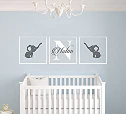 Personalized Name Elephants - Frames Series -Baby Boy/Girl Wall Decal Nursery For Home Bedroom Children (AM)
