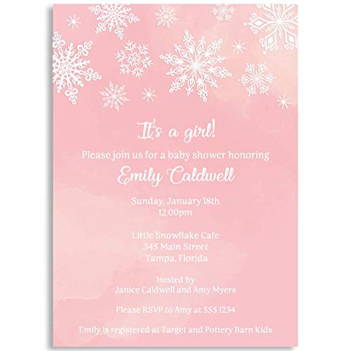 Winter Wonderland Baby Shower Invitations, Pink, Winter Wonderland, Baby Shower, Snowflakes, Snowfall, White, Winter, 10 Printed Invitations with White Envelopes]()