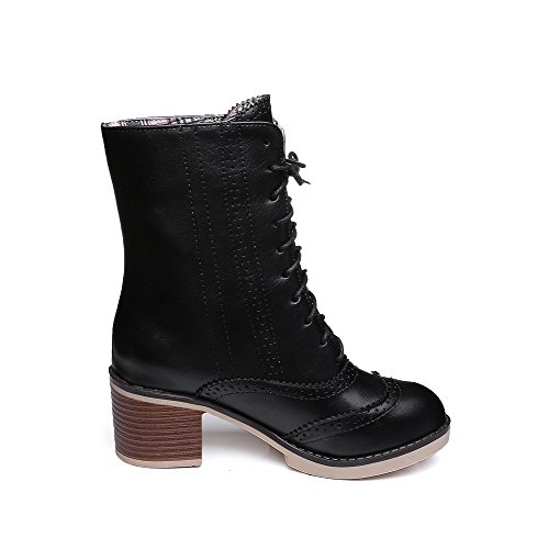 Boots Round Low Womens PU Solid Kitten Black AmoonyFashion Toe Heels Closed top HFwcUqT