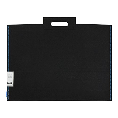 Itoya ProFolio Midtown Bag 19 inches X 26 inches Black Felt Blue Stitching 12 MD-1926-BK by ITOYA